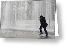A Silhouette Of The Boy Against A Fountain Greeting Card