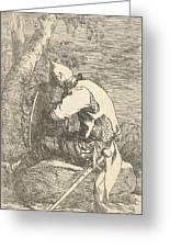 A Sleeping Warrior Seated On A Rock And Leaning On His Shield Greeting Card