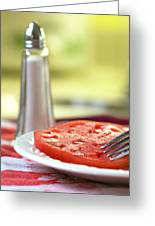 A Slice Of Beefsteak Tomato With Salt Greeting Card