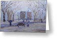A Snowy Afternoon In The Park Greeting Card