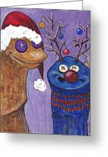 A Sock Puppet Christmas Greeting Card by Robin Wiesneth
