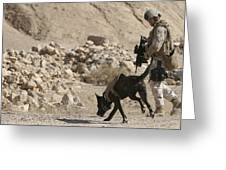 A Soldier And His Dog Search An Area Greeting Card