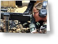 A Soldier Fires An M240b Medium Machine Greeting Card by Stocktrek Images
