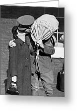 A Soldier's Goodby Kiss Greeting Card