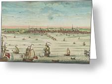 A South East View Of The Great Town Of Boston In New England In America, 1730 Greeting Card