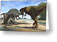 A Spinosaurus Blocks The Path Greeting Card