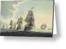 A Squadron Of The Royal Navy Running Down The Channel And An East Indiaman Preparing To Sail Greeting Card