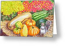 A Squirrel And Pumpkins.2007 Greeting Card