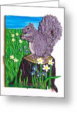 A Squirrel At His Snack Greeting Card