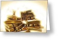 A Stack Of Gold Bullion  Greeting Card