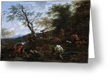 A Stag Hunt Nicolaes Claes Pietersz Berchem Greeting Card