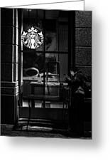 A Starbucks Respite In Downtown San Jose Greeting Card
