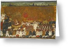 A State Procession Of Raja Tulsaji Greeting Card