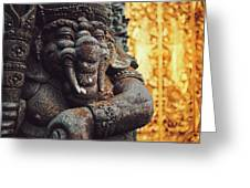 A Statue Of A Intricately Designed Holy Hindu Elephant Ganesha In A Sacred Temple In Bali, Indonesia Greeting Card