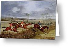 A Steeplechase - Near The Finish Henry Thomas Alken Greeting Card