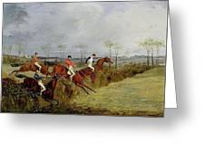 A Steeplechase - Taking A Hedge And Ditch Henry Thomas Alken Greeting Card