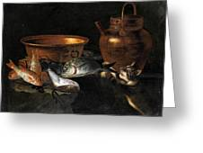 A Still Life Of Fish With Copper Pans And A Cat  Greeting Card