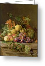 A Still Life Of Melons Grapes And Peaches On A Ledge Greeting Card by Jakob Bogdani