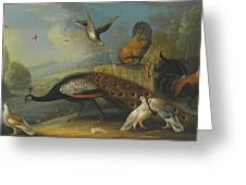A Still Life With A Peacock, Pigeons And Chickens In A River Landscape Greeting Card