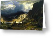 A Storm In The Rocky Mountains Mt. Rosalie, 1866 Greeting Card