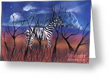 A Stormy Night For A Zebra  Greeting Card