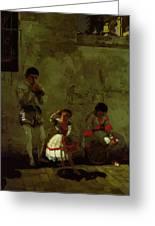 A Street Scene In Sevilla 1870 Greeting Card