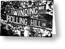 Wi - A Street Sign Named Winding Way And Rolling Hill Greeting Card