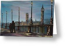 An Evening Stroll Along The Thames  Greeting Card