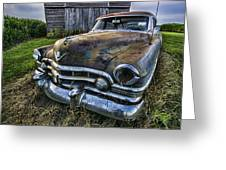 A Stylized Wide Angle Look At An Old Rusty Cadillac By A Cornfield Greeting Card
