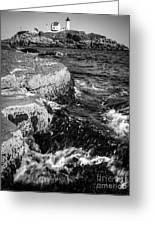 A Summer's Day At Nubble Light, York, Maine  -67969-bw Greeting Card