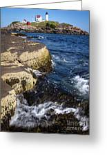 A Summer's Day At Nubble Light, York, Maine  -67969 Greeting Card