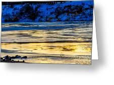 A Sunset In A River Of Ice Greeting Card