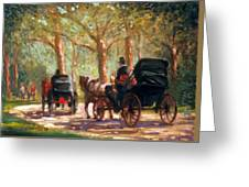 A Surrey Ride In Central Park Greeting Card