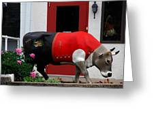A Swiss Cow In New Glarus Wi Greeting Card