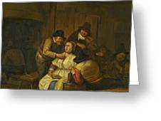 A Tavern Interior With Two Peasants Making Advances On A Maid With Figures Making Music Beyond Greeting Card
