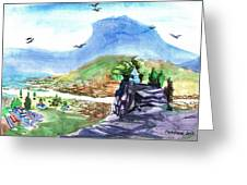 A Temple With A Mountain And Fields In The Background Greeting Card