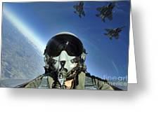 A Three-ship Formation Of F-15e Strike Greeting Card