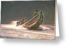 A Tigertail Boat On The Ping River Greeting Card