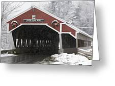 A Traditional Covered Bridge On A Snowy Greeting Card