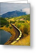 A Train Of Golden Grain  Greeting Card