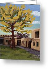 A Tree Grows In The Courtyard, Palace Of The Governors, Santa Fe, Nm Greeting Card