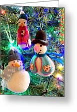 A Trio Of Snowmen Greeting Card