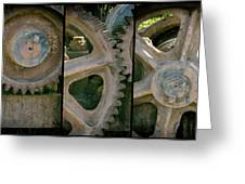 A Triptych Of Old Gears Greeting Card