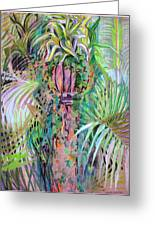 A Tropical Basket On A Post Greeting Card