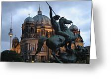 A Twilight View Of The Berlin Cathedral Greeting Card by Jim Webb