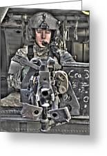 A Uh-60 Black Hawk Door Gunner Manning Greeting Card by Terry Moore