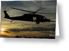 A U.s. Army Uh-60 Black Hawk Leaves Greeting Card