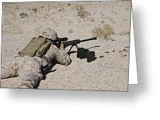 A U.s. Marine Zeros His M107 Sniper Greeting Card by Stocktrek Images
