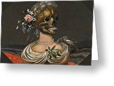 A Vanitas Bust Of A Lady With A Crown Of Flowers On A Ledge Greeting Card