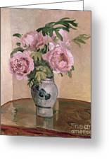 A Vase Of Peonies Greeting Card by Camille Pissarro